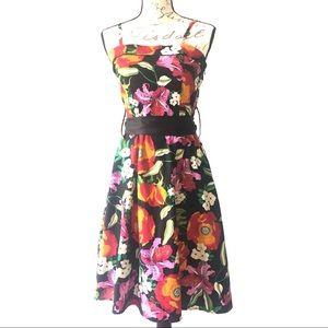 Floral Sundress Midi Belted Black Red Summer Dress